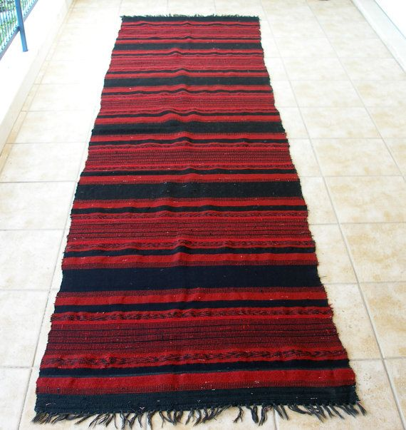 Stripes Red Black Antique Anatolian Kilim Rug Runner