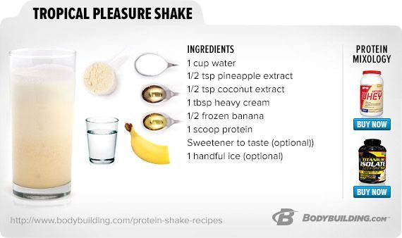 50 Best Protein Shake And Smoothie Recipes Tropical Pleasure Shake - If you like pina coladas... #wheyproteinrecipes