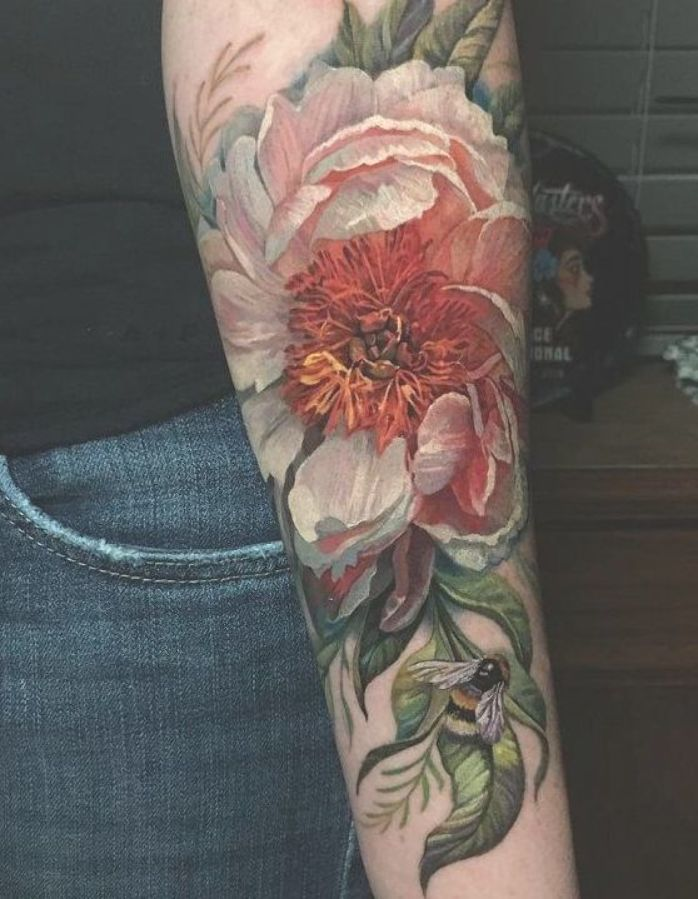 3D Colored flowr tattoo - 50+ Magnolia Flower Tattoos