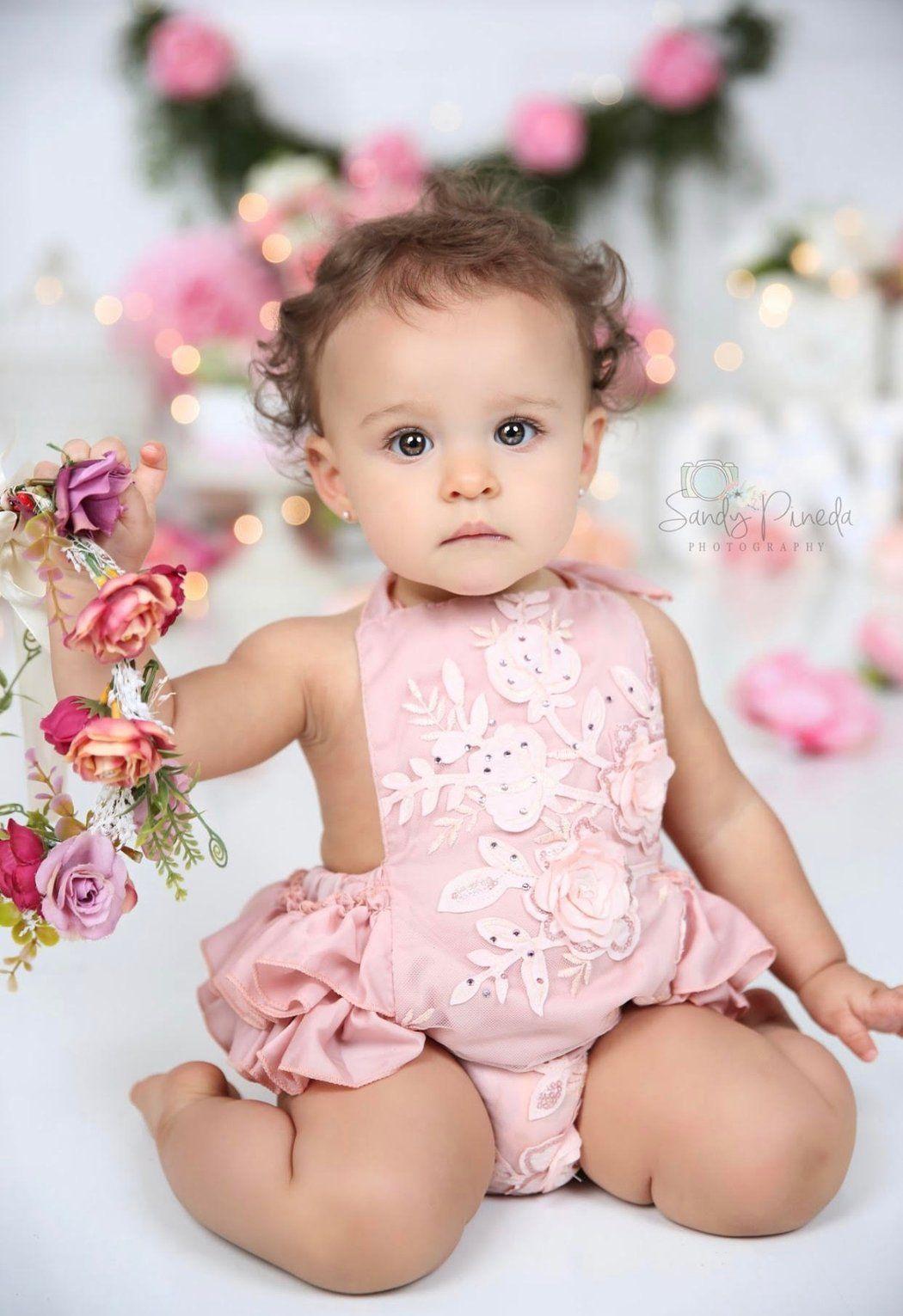 Kryssi Kouture Dusty Peach Dainty Floral Birthday Romper