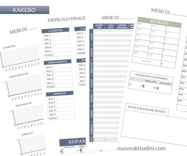 Kakebo stampabile planner stampabili vorlagen for Planner casa gratis