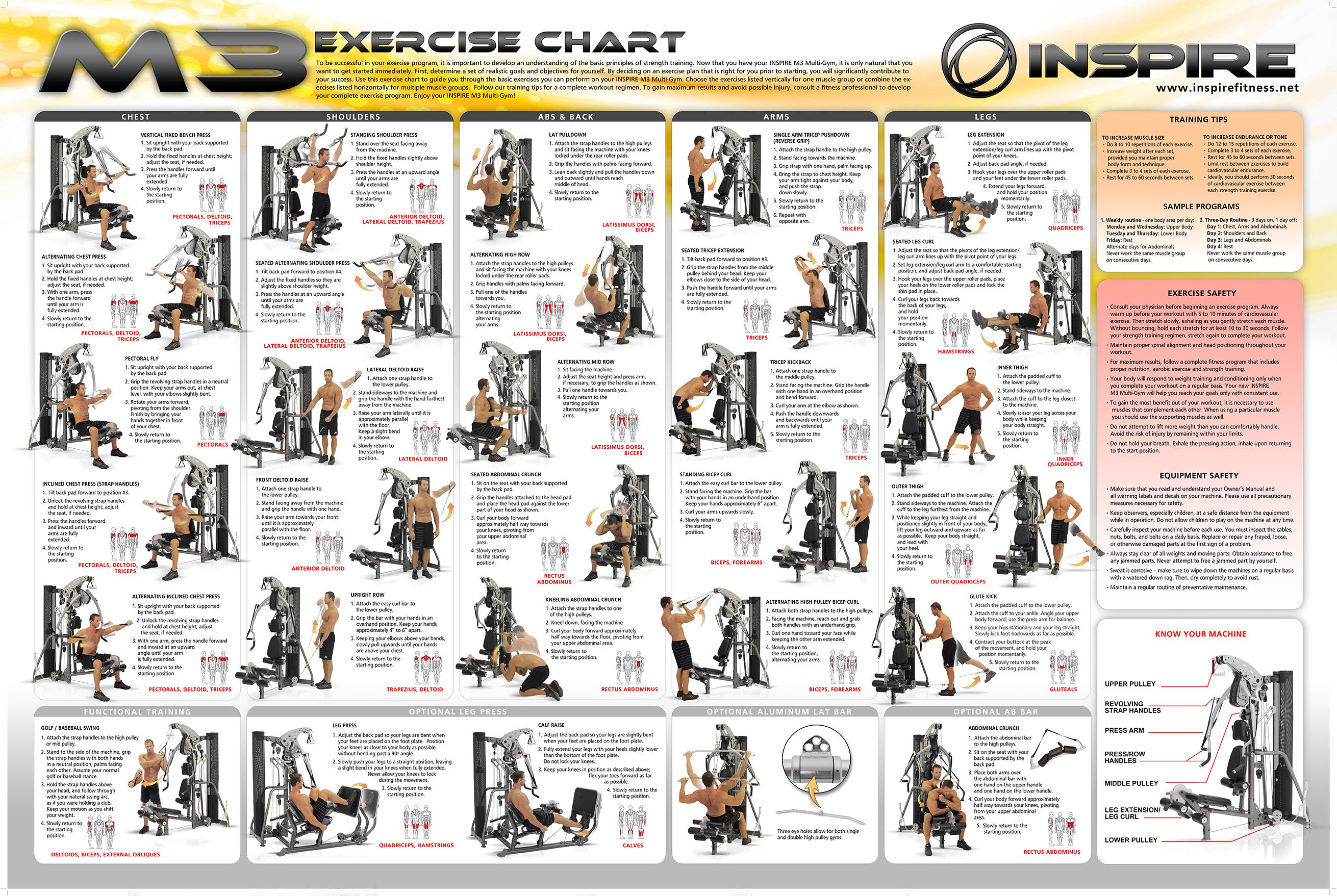 Gym Workout Chart For Chest For Men Weider Home Gym Exercise Chart Weight Machine Workouts