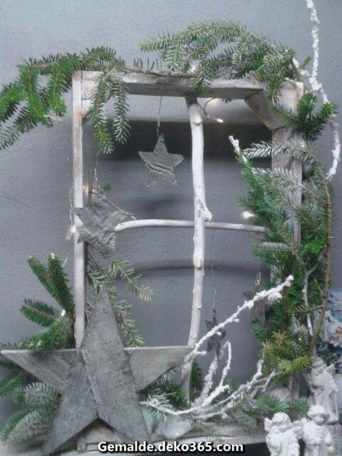 Großartige Obstkiste ohne Grund. Entworfen wie Weihnachtsfenster. #vintageweihnachtendeko