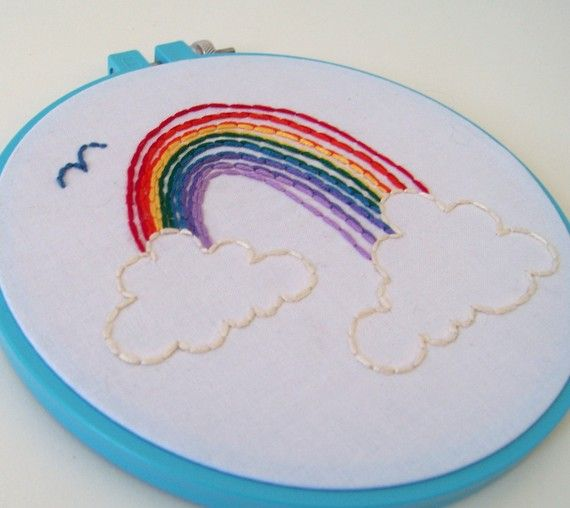 Rainbow embroidery hoop art by fallingforpieces on etsy