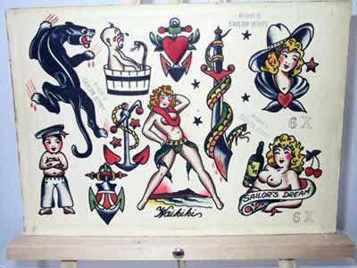 vintage tattoo flash sailor jerry collins flash for sale