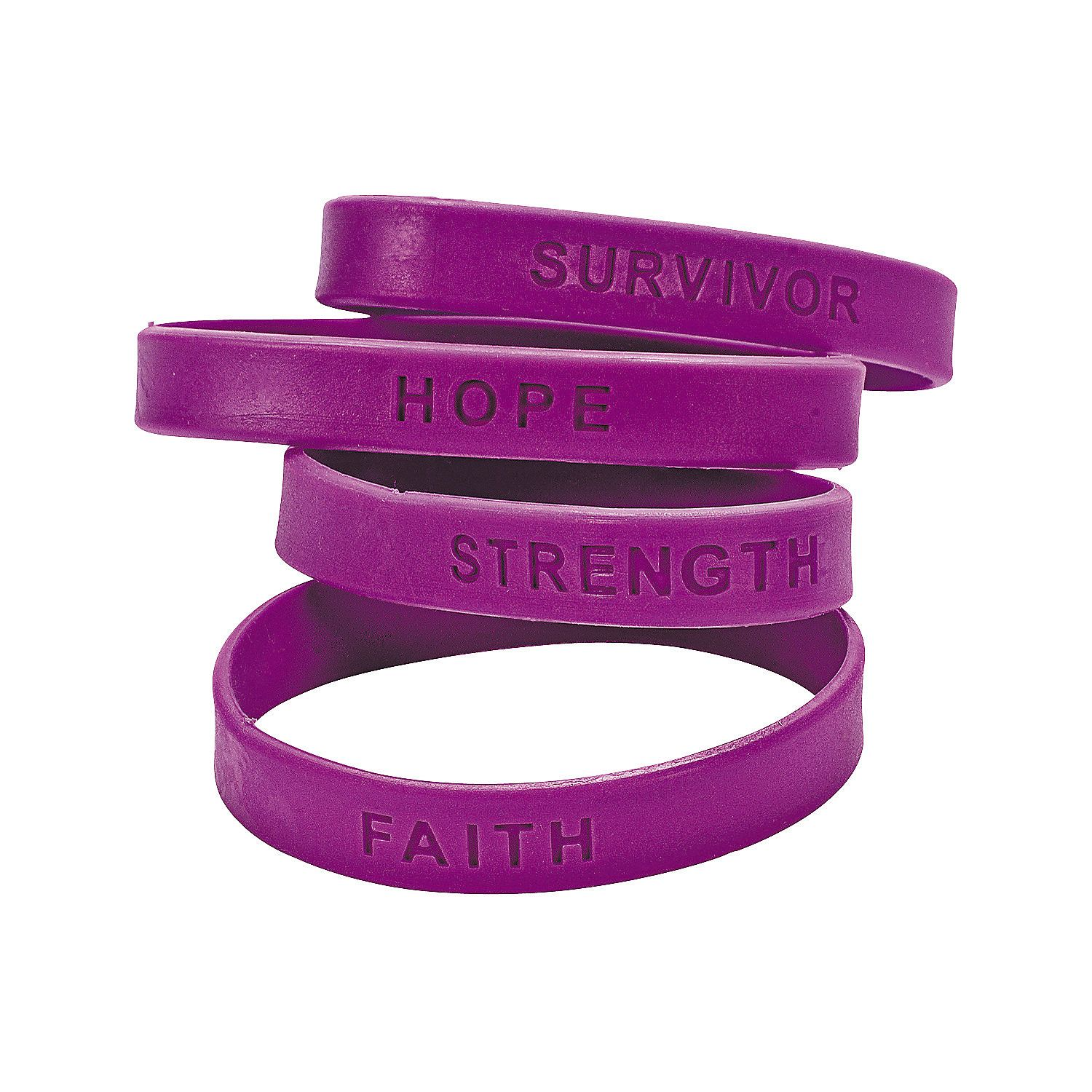 861bf885ad4 Purple Ribbon Awareness Sayings Rubber Bracelets | Relay for Life ...