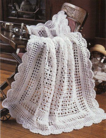 6 Exquisite Heirloom Lacy Baby Afghan Crochet Patterns Blankets ...
