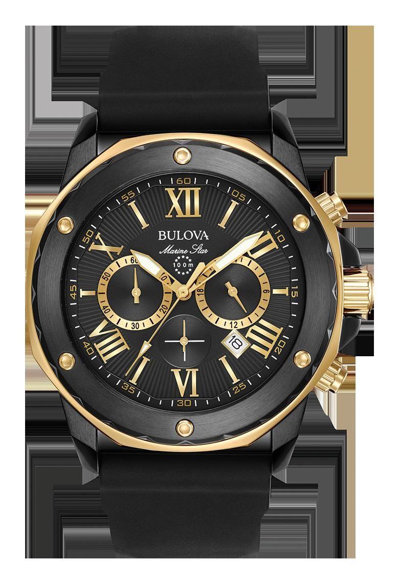 9605a03be6c Bulova 98B278 Men s Marine Star Chronograph Black Dial Black Silicone Strap  Watch