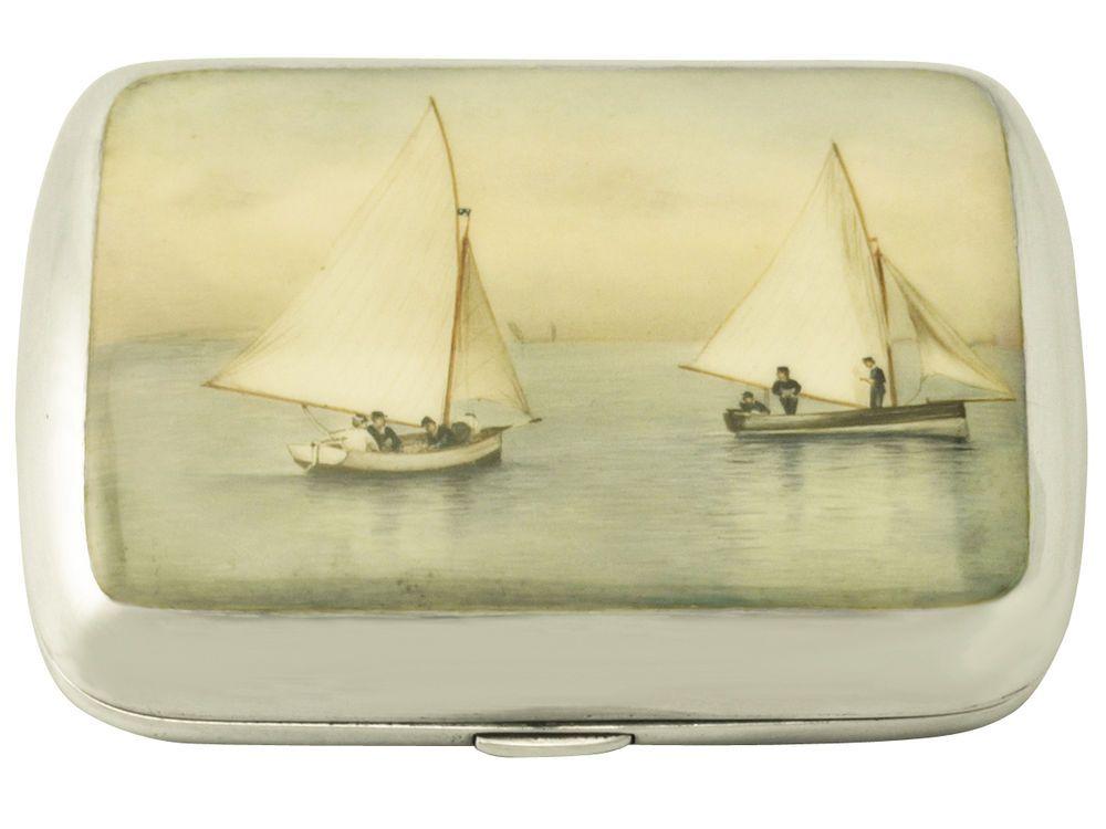 Sterling Silver and Enamel Cigarette Case - Antique Victorian #DeakinFrancisLtd