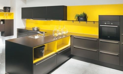 harmoniser murs jaune avec sol gris cuisine et armoires. Black Bedroom Furniture Sets. Home Design Ideas
