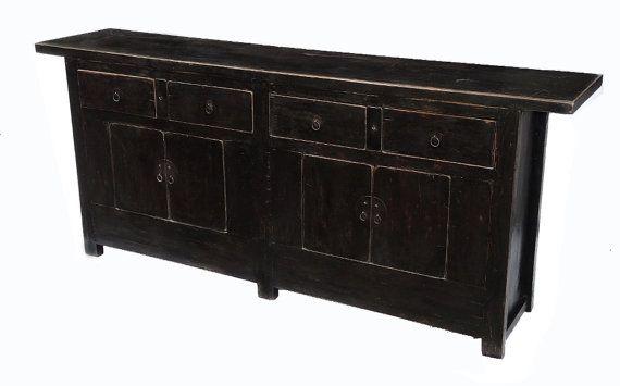antique black sideboard cabinet or media console with drawers by terra nova furniture los. Black Bedroom Furniture Sets. Home Design Ideas
