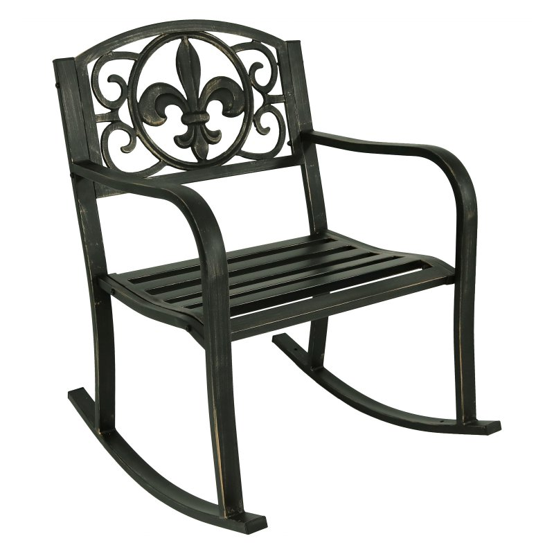 Sunnydaze Decor Fleur De Lis Design Cast Iron Patio Rocking Chair