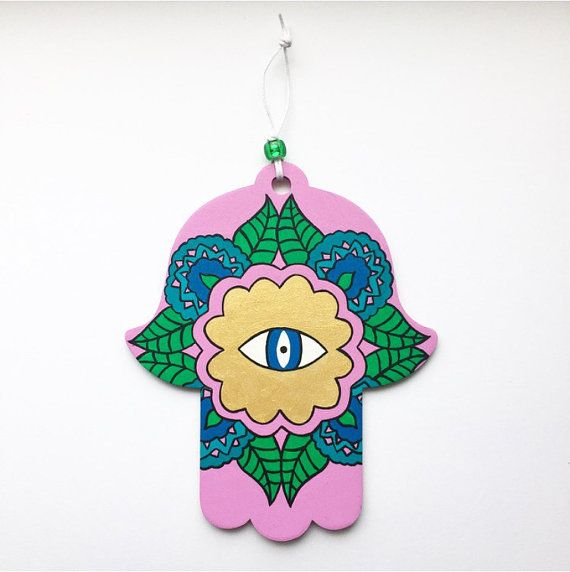 Mehndi Inspired Evil Eye Hamsa Hand of Fatima by LeaJoelleHandmade