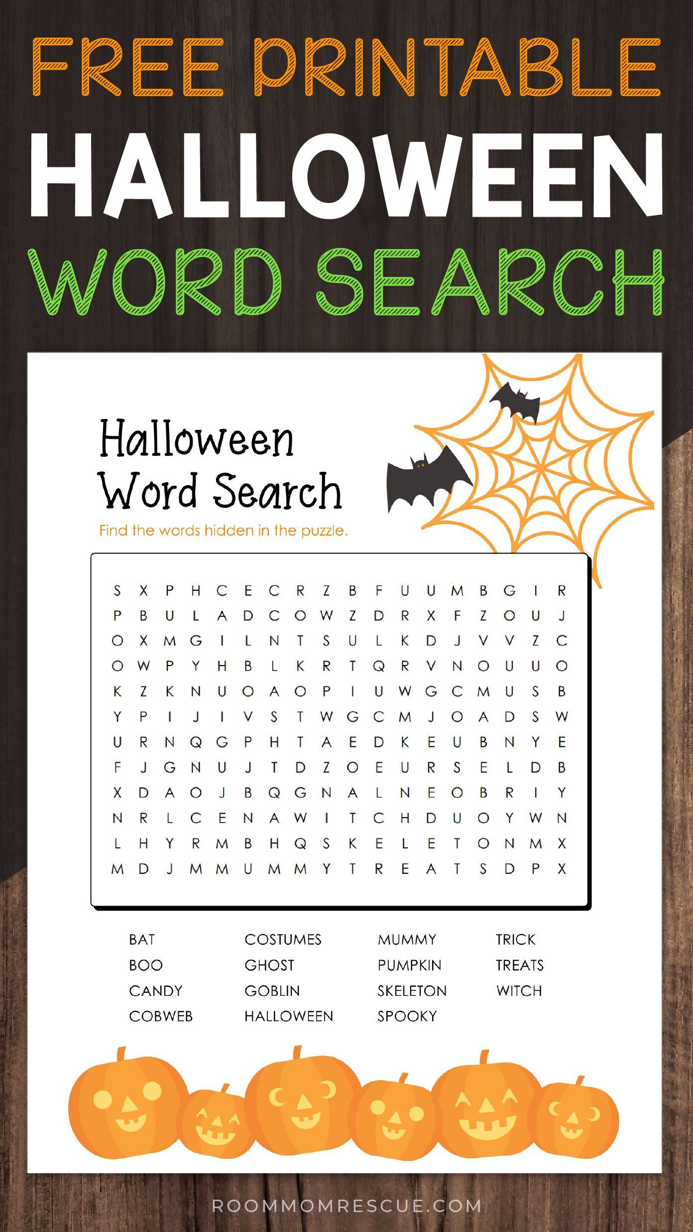 Free Printable Halloween Word Search For 2nd 3rd Amp 4th