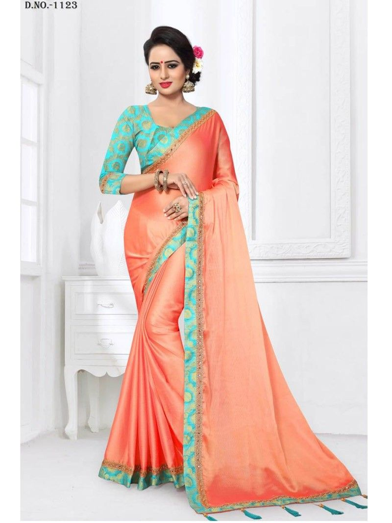 4d63ac212067f Latest Peach color Designer Brocade Border saree with Sky Blue Blouse