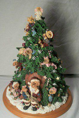 Boyds Bears Lighted Christmas Tree 2001 Danbury Mint Collectable Figurine Boyds Bears Figurines Boyds Bears Bear Figurine