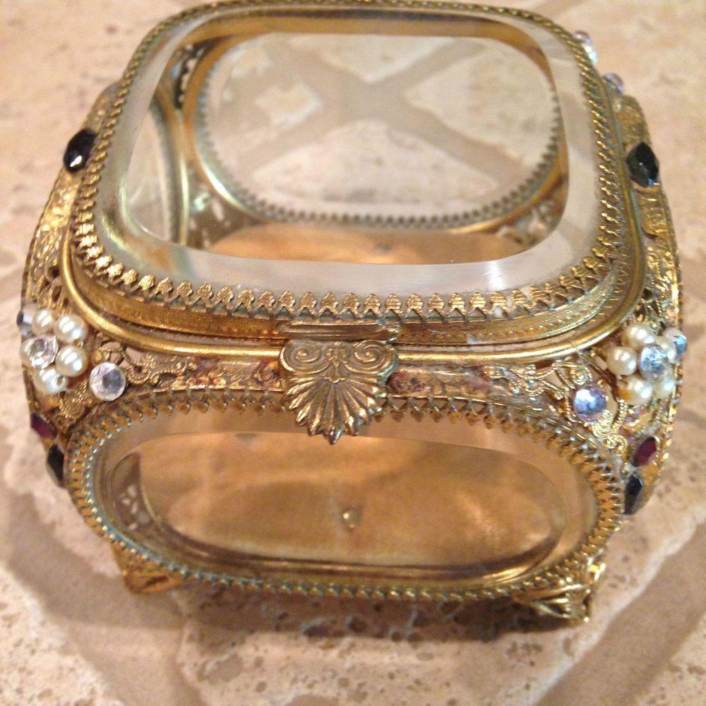 Ormolu jeweled beveled glass jewelry casket vintage trinket box