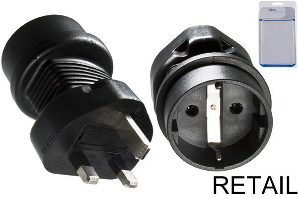 DINIC Reisestecker England UK YL-6023 GB BS1363 5A St./Schuko CEE/7 Bu.