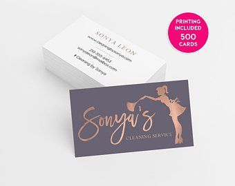 Cleaning Loyalty Card 500 Printed Business Cards Custom Etsy Calling Card Design Cleaning Business Cards Printing Business Cards