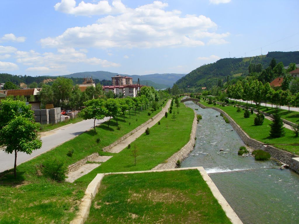 A river flowing through the city of Makedonska Kamenica. This is a small mining town, with a population a little bit over 5000 residents, an...