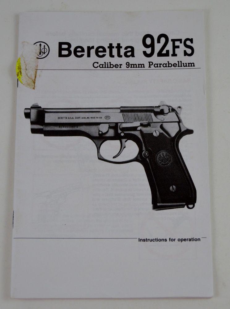beretta 92fs caliber 9mm parabellum pistol gun instruction and parts rh pinterest com beretta 92fs owners manual beretta m9 owners manual
