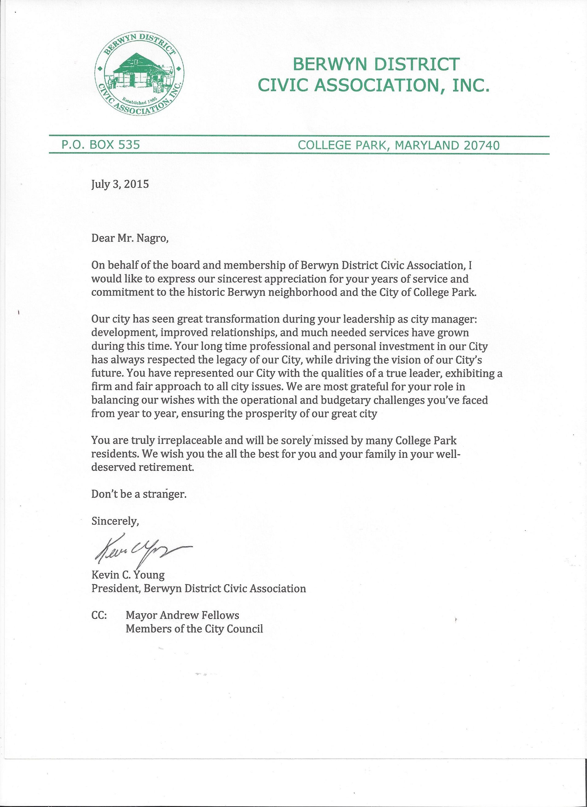 Community Appreciation Letter Sent Joe Nagro For His Years