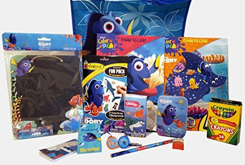 Finding Dory 2 Coloring Activity Books Reusable Tote Crayola Crayons Colorforms Set Puzzle Pencil Sharpener 2 Notepad 2 Self Inking Stampers 1 Chalkboard Tissues 14 pc Bundle PIXAR Birthday Christmas