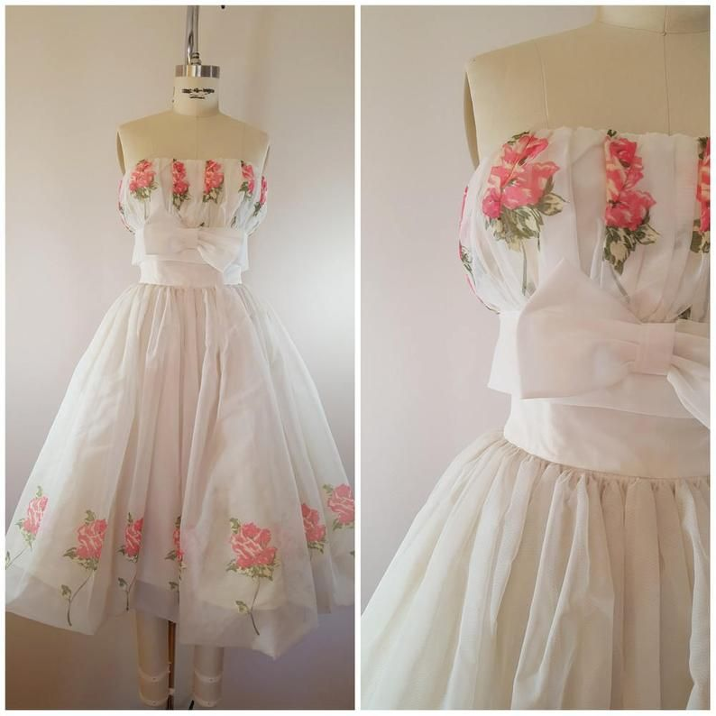 Vintage 1950s Dress / 50s Strapless Gown / 50s Prom Dress