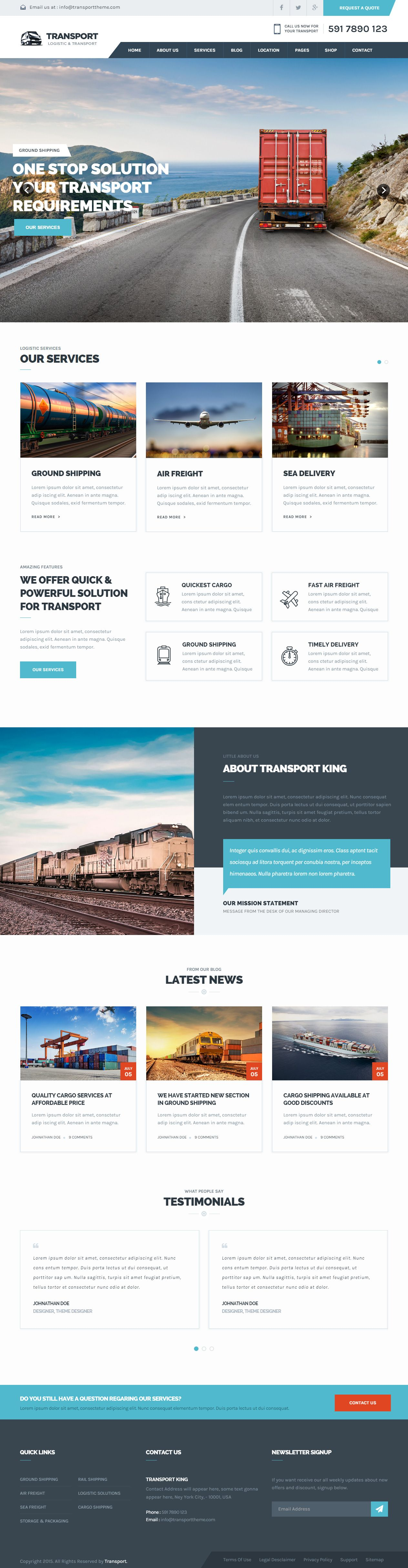 transport premium responsive logistic html5 template