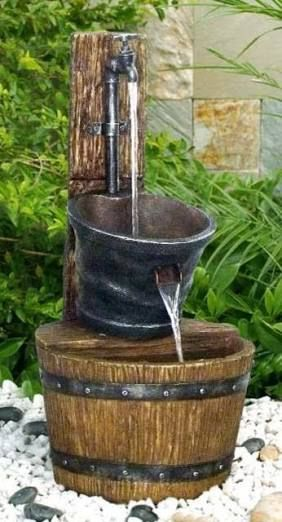 Image Result For Taps As Water Features Water Features Fountains Backyard Wooden Barrel