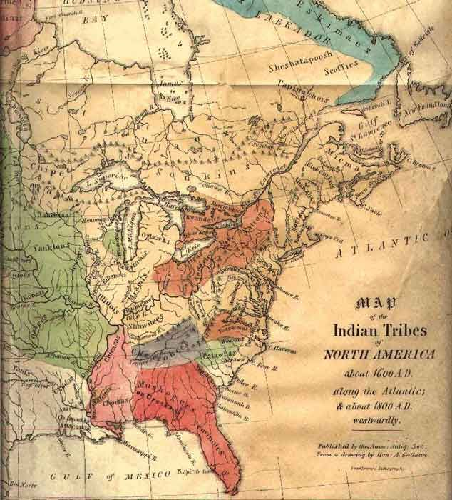 American Indians of North America Map Native Indigenous
