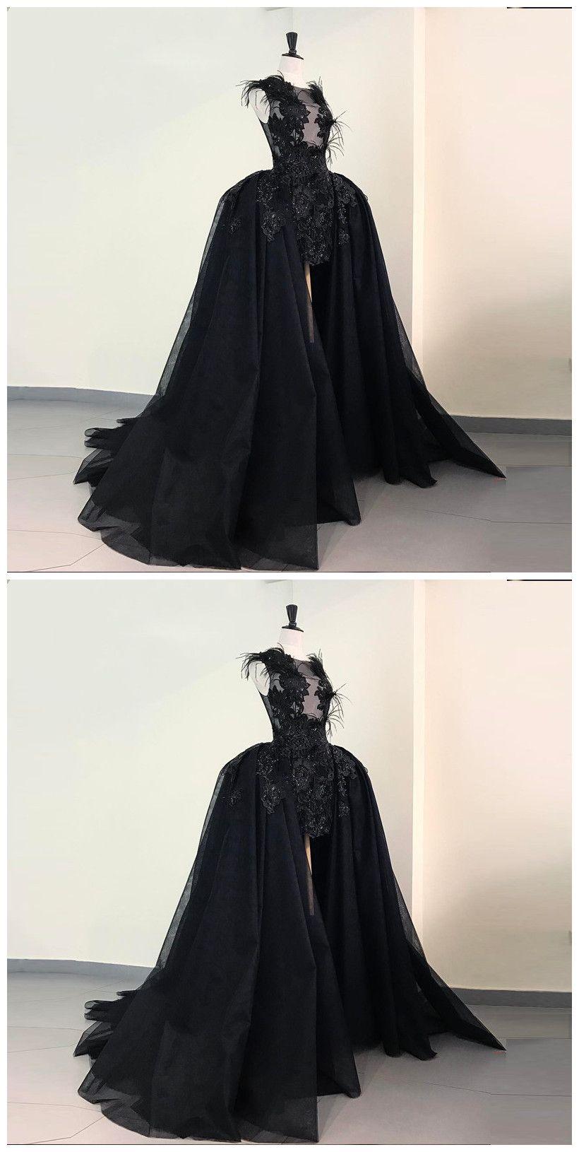 A Line Beaded Detachable Train Black Prom Dress With Feathers Appliques Dark Wedding Dress Dresses Prom Dresses [ 1630 x 820 Pixel ]