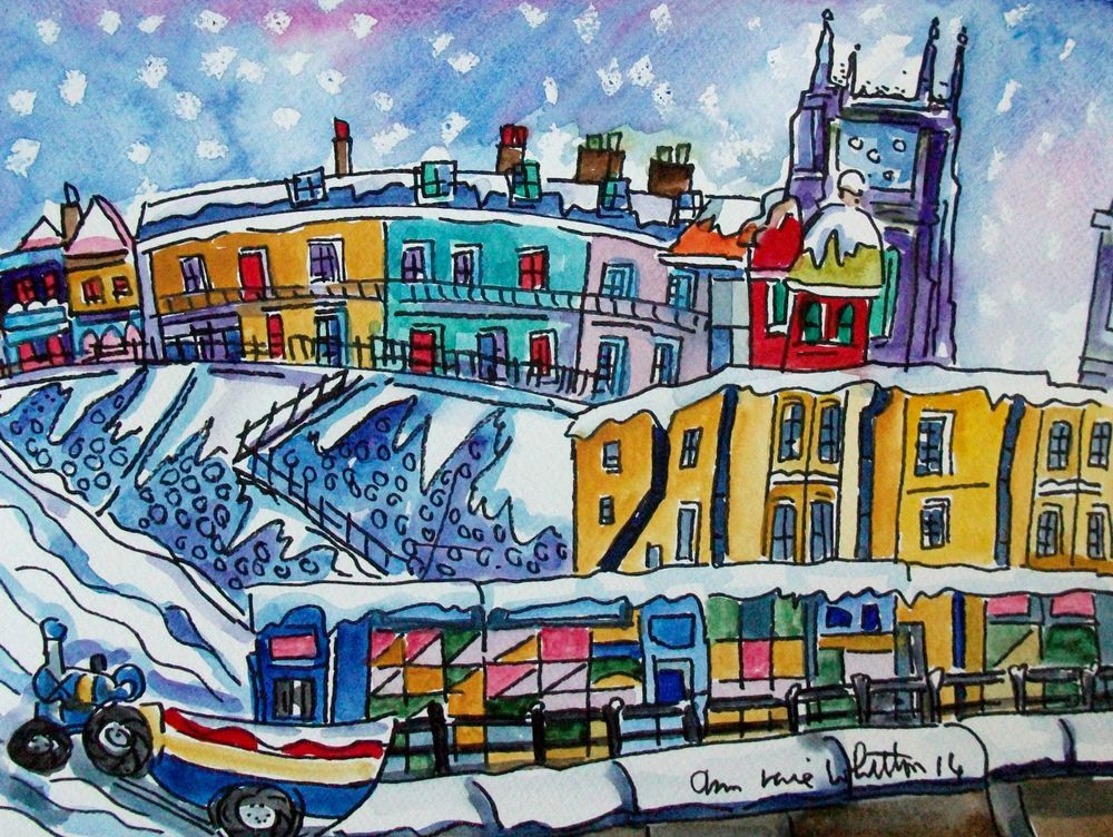 ORIGINAL WATERCOLOUR AND INK OF CROMER IN THE SNOW THE GANGWAY