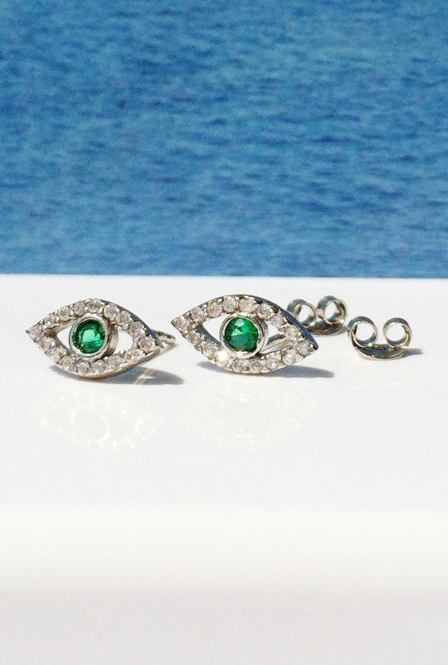 eye earrings, evil eye earrings, charm earrings, stud earrings, tiny earrings, silver earrings by LuckyCharmsUSA on Etsy