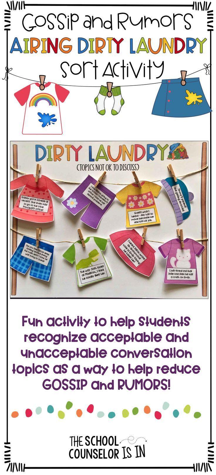 Gossip And Rumors Airing Dirty Laundry Sort  Activities