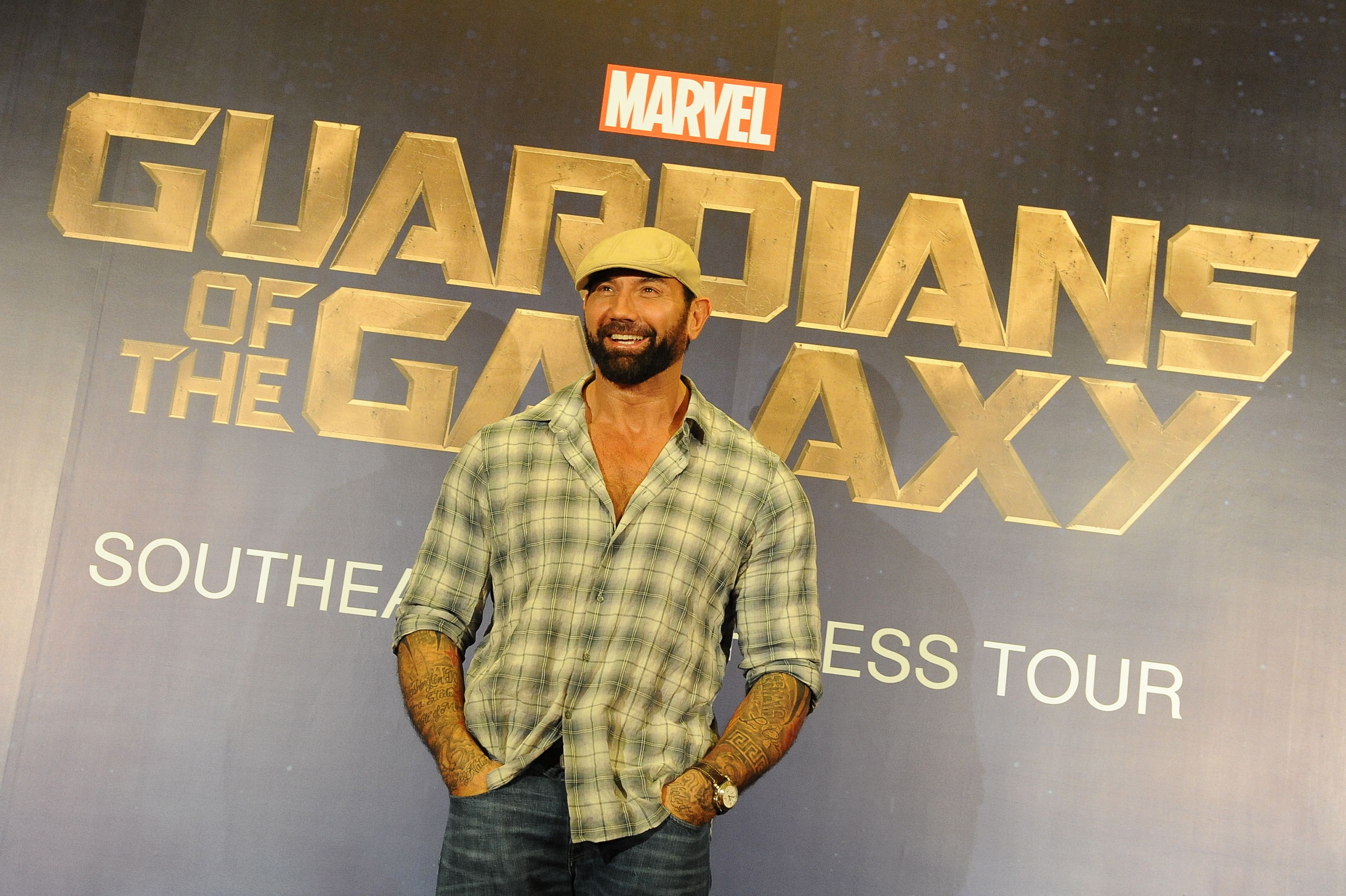Dave Bautista At The Guardians Of The Galaxy Singapore Press