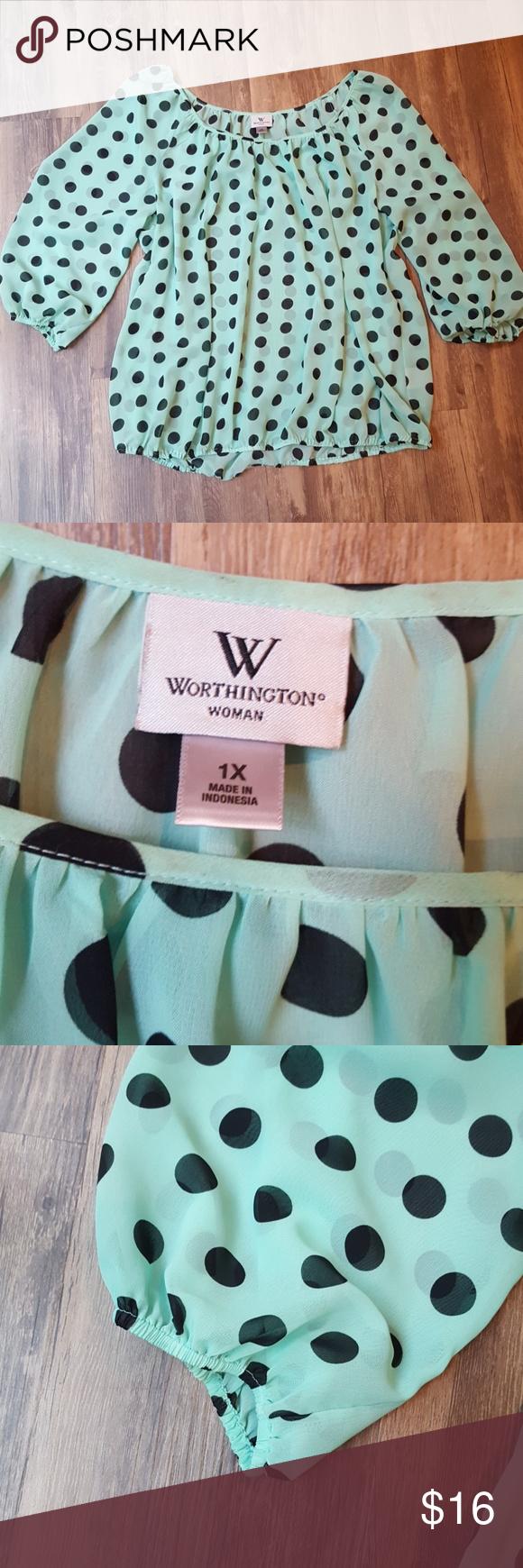 cff7a62f466416 Worthington Mint and black polka dot top Worthington woman 1X Minty green  and black polka dot blouse Sheer material Long sleeve Elastic cuff and  bottom ...