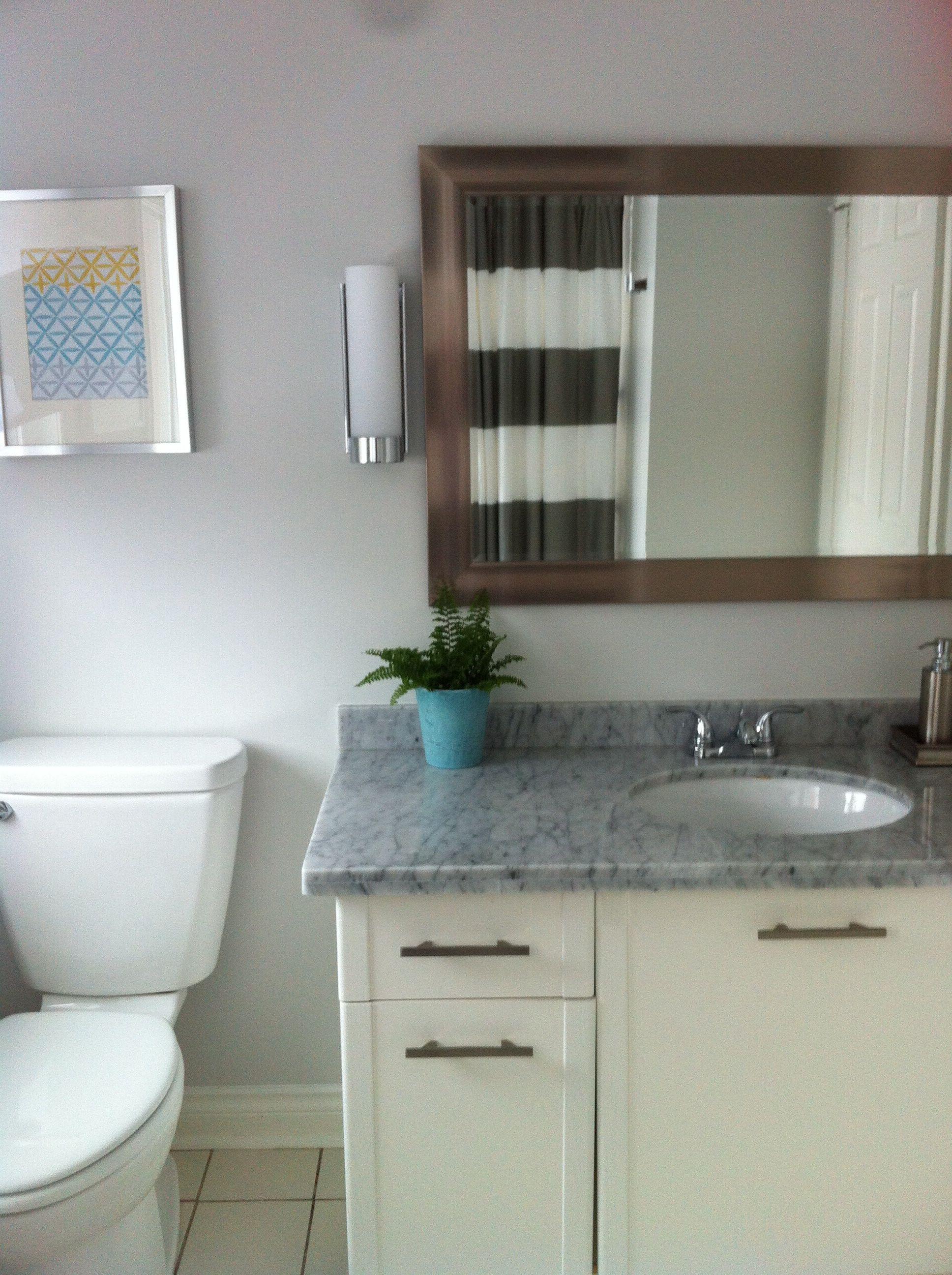 bathroom benjamin moore paper white oc 55 striped shower curtain west elm sconces. Black Bedroom Furniture Sets. Home Design Ideas