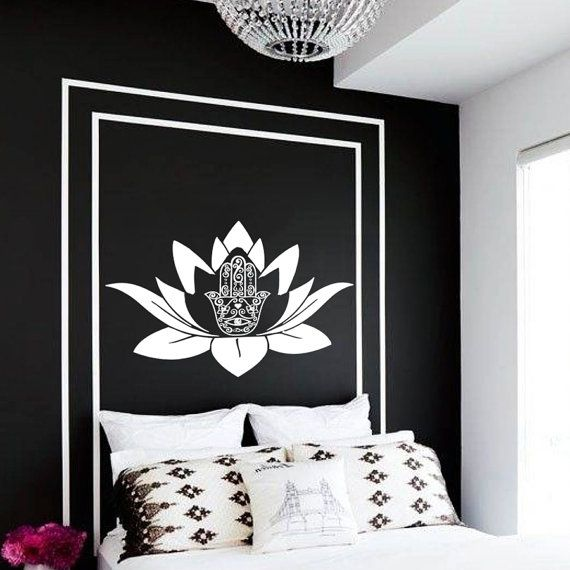 Yoga fatima hand hamsa lotus flower wall decal vinyl sticker wall decor home interior design art mural dear buyers welcome to our shop