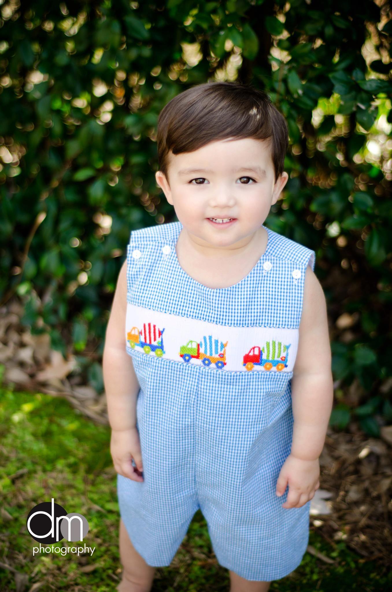 Smocked Cement Mixer Jon Jon Little Boy Outfits Cute