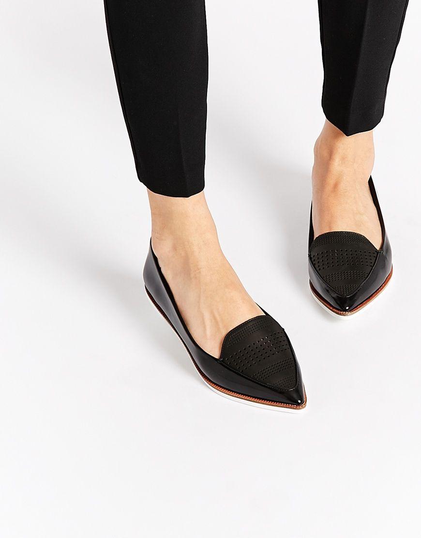 ALDO Hankes Black Contrast Sole Flat Shoes at asos.com