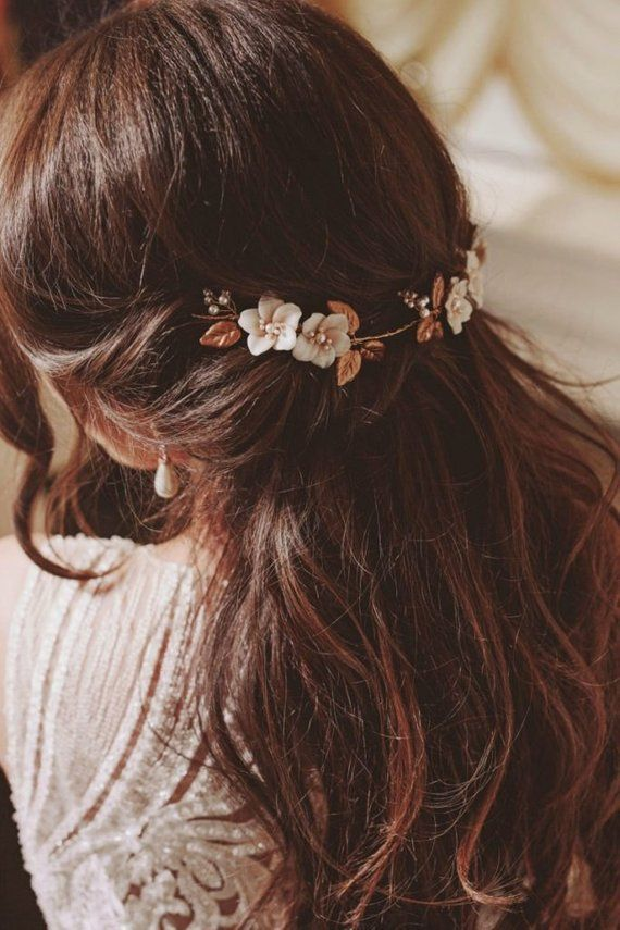 Floral bridal headpiece  gold wedding headband boh