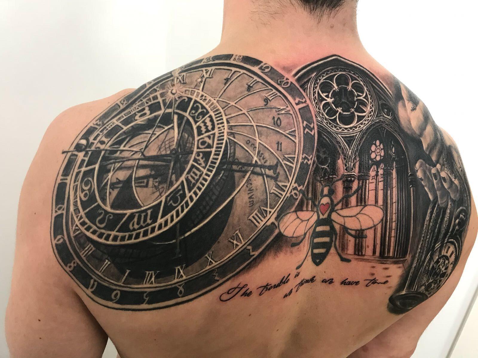 Clock Back Piece Tattoo By Stefan Limited Availability At Holy Trinity Tattoo Studio Back Piece Tattoo Tattoos Z Tattoo