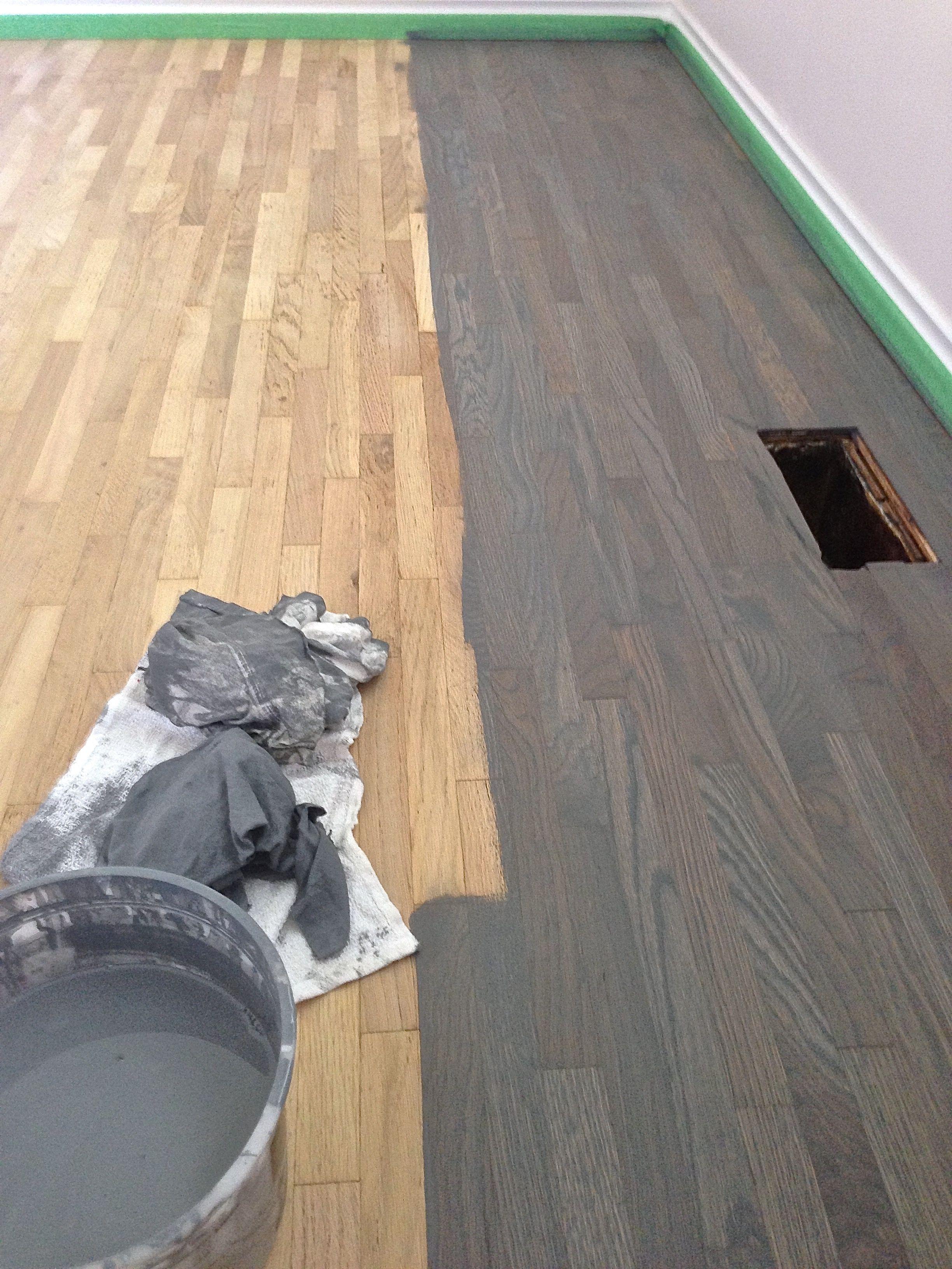 Oak floor stained blue grey Refinishing hardwood floors