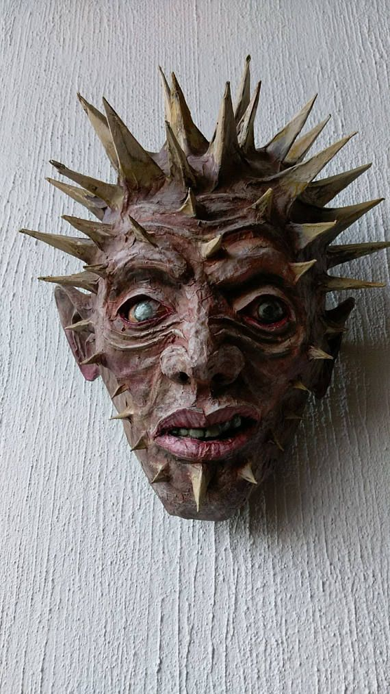 Spiked Head Handmade Paper Mache Mask Wall Decor