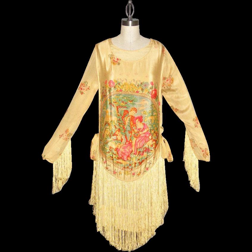 Vintage 1920s Silk Screen Print Fringe Flapper Dress, Garden Maiden Scene, Labeled Sherr Brothers Over the Garden Wall