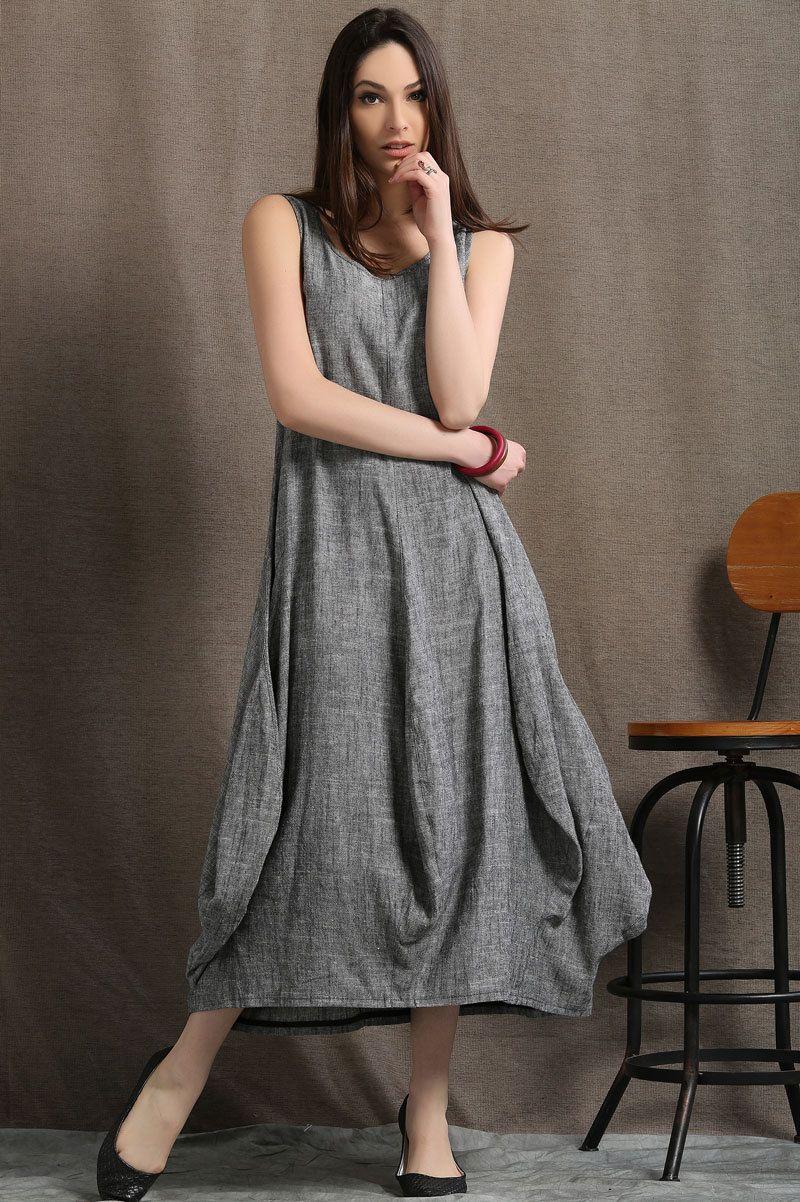 b799e6bbd7d Plus size dress, linen dress, maxi dress, maxi dress grey, linen ...