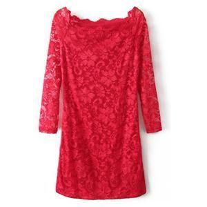 Lace Boat Neck Slim Red Dress   berlinmo
