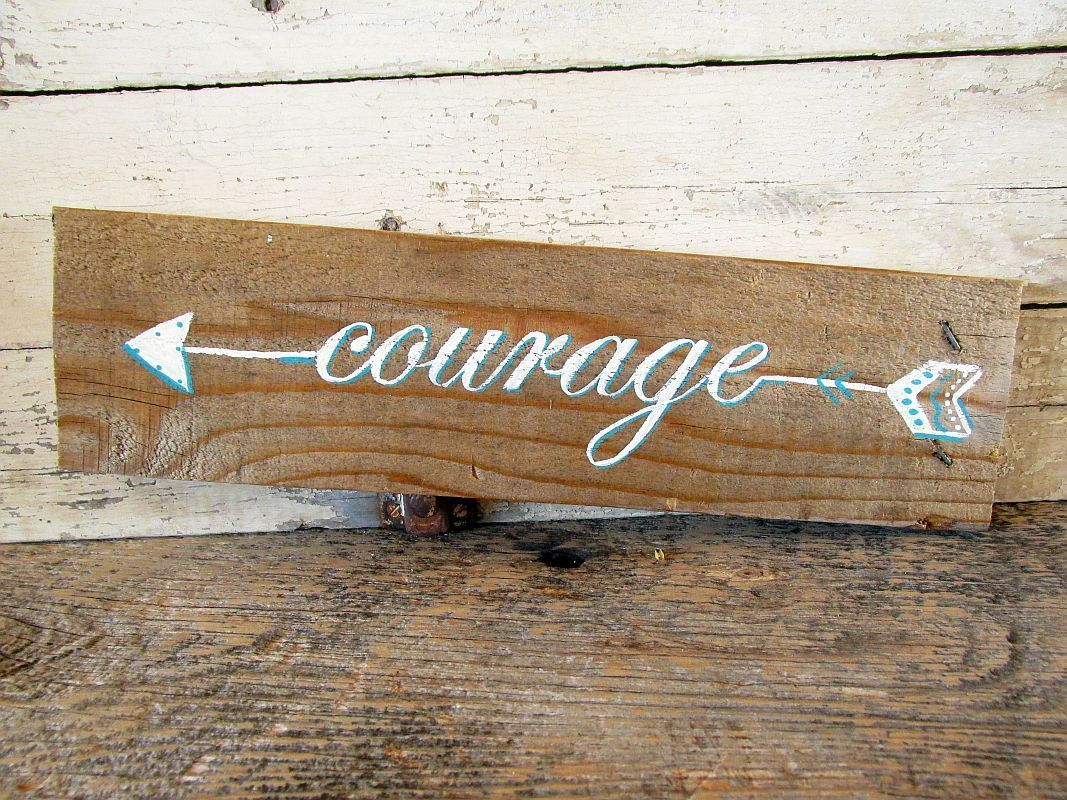 Wood Signs Home Decor Courage Arrow Sign Arrow Decor Rustic Signs Pallet Wood Sign