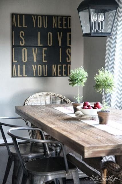 Holly Mathis Interiors: Sweet Cottage Dining Room Features Iron Carriage  Lantern Over Salvaged Wood Dining Table .